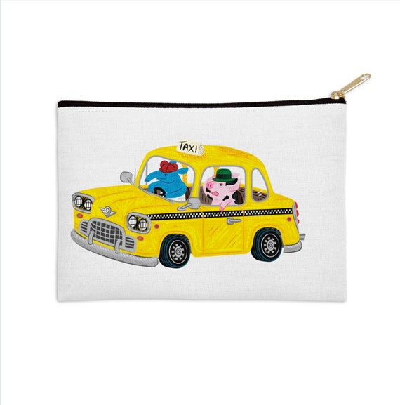 "Taxi Ride - zip pouch - pencil case - 8.5"" x 6"" / 12.5"" x 8.5"""