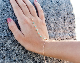 green chalcedony hand chain bracelet- gold filled- sterling silver