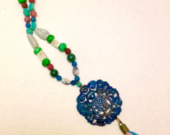 Blue Jade necklace with tassel
