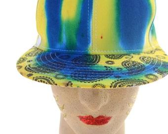 Tie Dye Snap Back Paisley Flat Brim Yellow and Cobalt Hat
