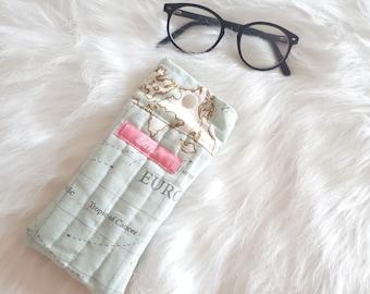 World maps glasses cases