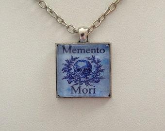 Danse Macabre Memento Mori Skull One Inch Square Pendant in Antique Silver