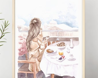 Breakfast, watercolor, aquarelle, illustration, fashion, fashionillustration, download, fashionprint, fashionart, instantdownload