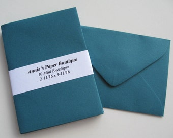 10 Mini Envelopes - Terrific Teal -Card Making, Paper Crafting, Gift Cards, Tags, Souvenirs, Mementos, Notes, Gift Giving