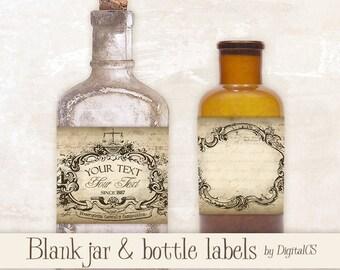 Printable Jar labels Apothecary labels for jars Vintage labels vintage tags printable tags digital tags Digital collage sheet Digital frames