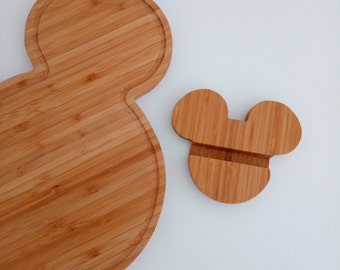 Mickey mouse tech stand / phone stand / bamboo phone holder / Tablet stand / disney decor
