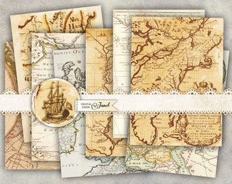 Antique Maps - background cards - digital collage sheet - set of 8 - Printable Download