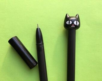 Black Cat Gel Pen, Kawaii Black Ink Pen, Cats Stationery, Stationery Supplies, Fine Point Pen, Crazy Cat Lady Gift