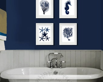 Dark Navy Beach Wall Art Set Of 4 Unframed Art Prints Seahorse, Starfish.  Beach