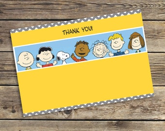 Printable / Downloadable Peanuts / Charlie Brown Birthday party PDF Thank You Card