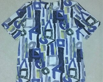 Vintage 90s Geometric Abstract Watercolor Print Short Sleeve Top