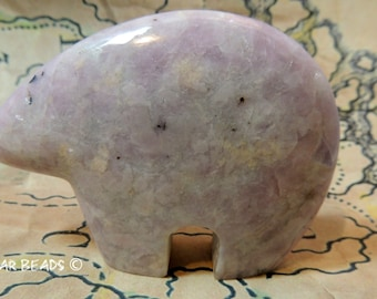 Pink Lapidolite HUGE Zuni Bear Pendant or Stand alone New Zuni Bears Gemstone 80mm