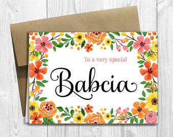 To a very special Babcia - Mother's Day / Birthday / Any Occasion -  5x7 PRINTED Greeting Card - Spring Flowers Floral Notecard