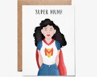 Super Mum! - Greeting Card - Mothers Day Card - Birthday Card - Mum - Stationery - Folio - thisisfolio