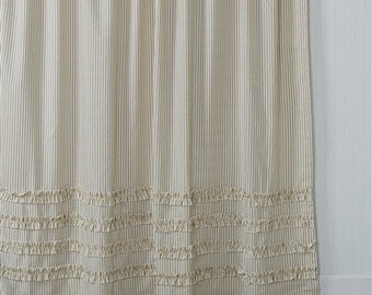 Ticking Stripe Ruffle Shower Curtain Brown 72x72 Or Extra Long 72x84