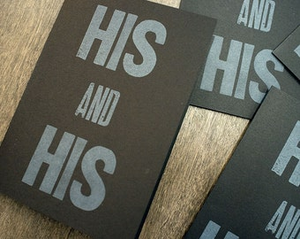 His and His Letterpress Card