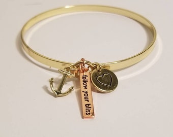 Anchor Bangle Bracelet | Follow Your Bliss | Gold Bangle Bracelet | Inspiring Jewelry
