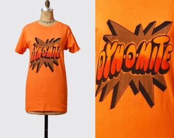 Vintage 70s Dynomite Shirt Graphic TShirt / 1970s Good Times Tv Show Retro T Shirt Orange Black Red Small S Medium M