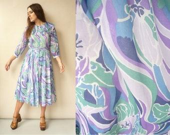 1970's Vintage Hippie Psychedelic Swirl Print Midi Maxi Dress Size S/M
