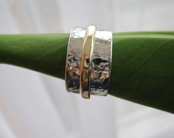 Sterling silver and gold band ring - made to order