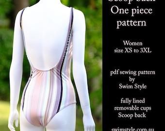 Scoop back One piece pdf sewing pattern Swim suit Women size XS to 3XL