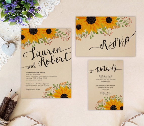 Wedding Invite Enclosures: Kraft Wedding Invitation Set: Invite RSVP Postcard Enclosure