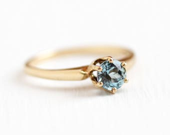 Blue Topaz Ring -  Vintage 10k Rosy Yellow Gold Sky Blue Gem Raised Solitaire - Retro 1950s Size 6 1/4 Signed B & F Baden Foss Fine Jewelry