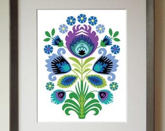 Polish Folk Art Print, Purple Flower