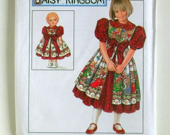 Little Girls' Dress and Pinafore Plus Matching Doll Outfit - Simplicity 7349 - Vintage Designer Sewing Pattern, Sizes 3, 4, 5, and 6