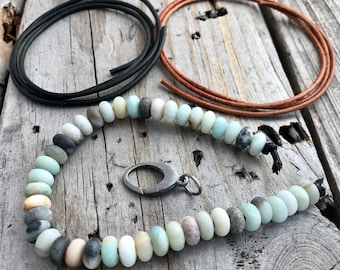 DIY Amazonite Bead Bracelet Sterling Silver, Leather, and Amazonite Bead Strand Wild Prairie Silver