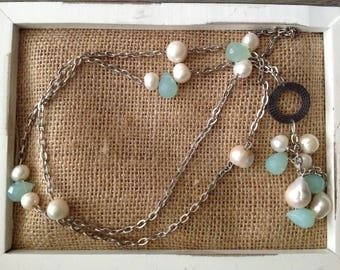 Long pearl and aqua chained necklace