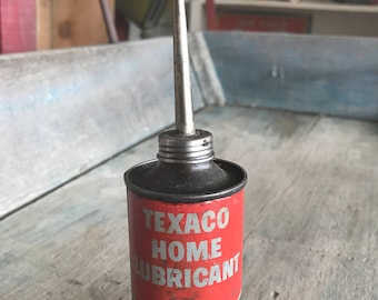 Texaco Home Lubricant Oil Can |  Texaco Oil Tin |  Red Vintage Texaco Oil Can with Screw off Spout