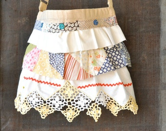 Ruffled Tote bags- Granny Chic Boho Bags -Repurposed Cutter Quilts and Pillowcases- Summer Totes - Vintage Inspired Bags  Crossbody bags
