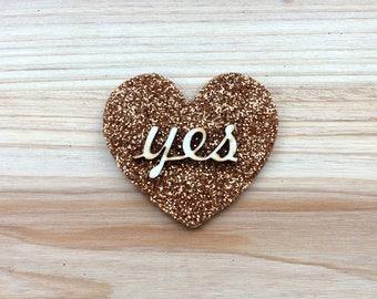 """Copper Glitter """"Yes"""" Heart Brooch"""