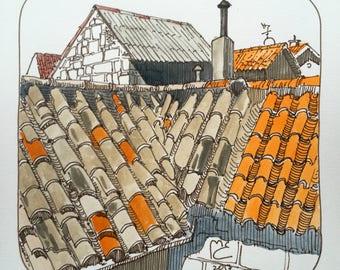 ORIGINAL. Urban sketch. The tile roof.