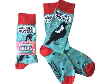 Magpie Talk socks   LADIES SOCKS   Blue Mountains Socks australian made, original design, australiana, blue mountains, bird, fun, aussie
