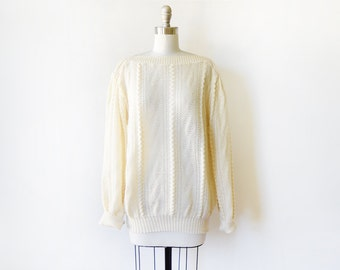 70s cream sweater, vintage 70s slouchy sweater, 1970s  pointelle knit sweater, xl extra large