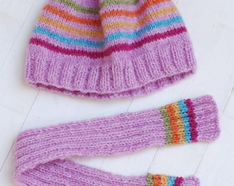 Set Hat And Scarf Knitting For Dolls Like Giggi Patti 7-8 Head Size Dolls Meadow Pink Colorful