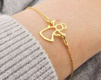 Sterling Silver Angel bracelet Gold Plated, pendant angel, silver angel, little angel, angel, guardian angel, child, guardian angel bracelet