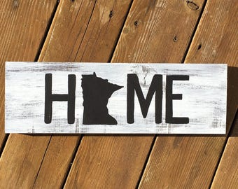 Rustic Home State Wood Sign, Hand Painted Wood State Sign, Custom Wood state wall decor,state home decor