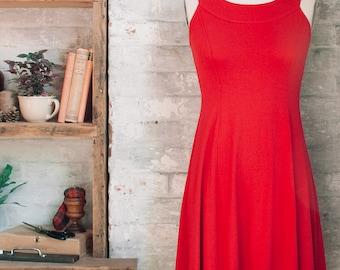 Cleopatra Racerback Flared Dress - red dress -sleeveless red dress -red cocktail dress - flared knee length dress - summer - red sun dress