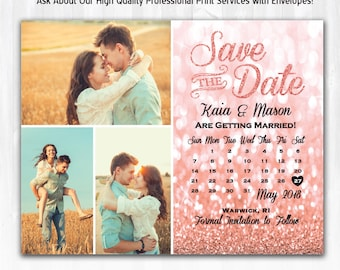Rose Gold Glitter Save The Date Magnet or Card DIY PRINTABLE Rose Gold Save The Date Calendar 3 Photo Save The Date with Rose Gold Glitter