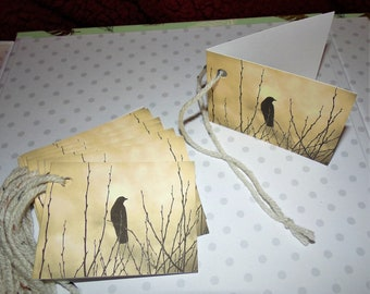 Black Crow / Gift Tags/ Mini Cards.