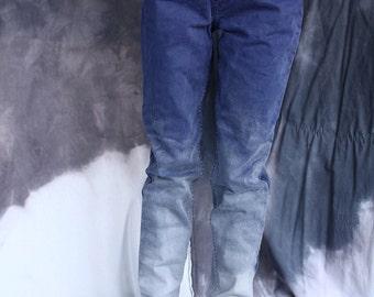 Hand dyed gradient bleu-lilac levi's jeans