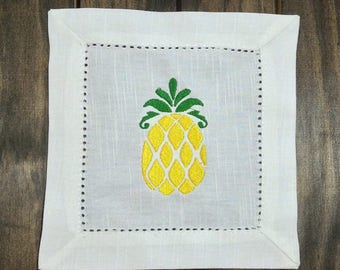 Pineapple Cocktail Napkins - Embroidered Linen Cocktail Napkins - Linen Cocktail Napkins