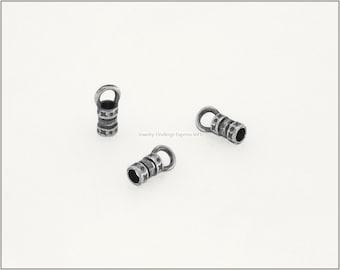 10 pc.+  2.5mm Crimp End Cap, Crimp Ends, Cord Ends for Leather Cords & Chains - Antique Silver color