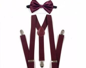 Burgundy suspenders, burgundy bowtie, suspenders and bowtie, bowtie and suspenders, maroon suspenders, maroon bowtie for children and adults
