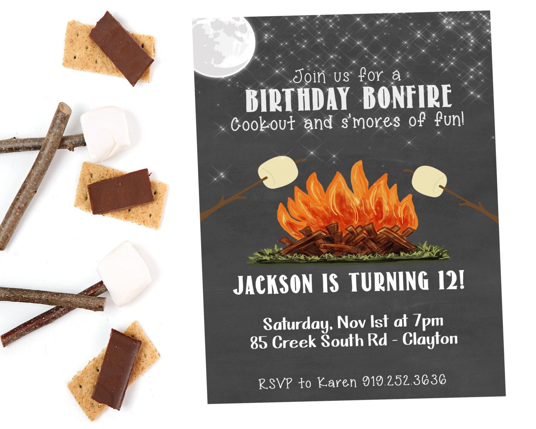 Bonfire Birthday Invitation S\'mores Birthday Bonfire