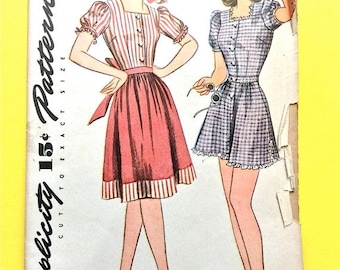 Spring Sale Uncut ff 1940s Simplicity 4642 Misses' and Women's Playsuit and Skirt Ruffles Puff Sleeves  Vintage Sewing Pattern Bust 34