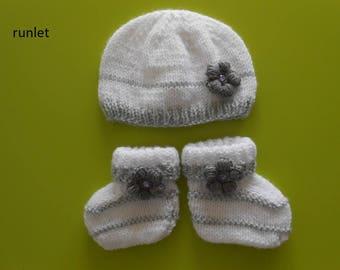 chaussons blanc gris,bonnet et chaussons blanc bebe  bonnet bébé,chaussons  naissance tricot bébé ensemble ensemble bébé layette tricot main, 006c4fe0b6a